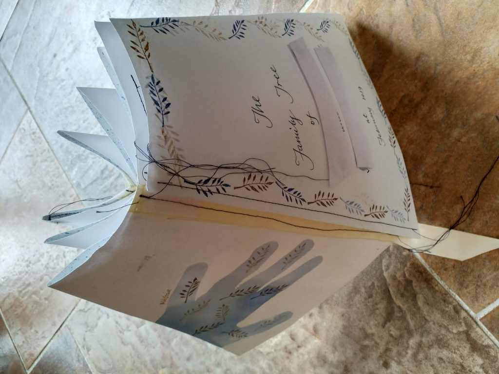 image of toroidal book standing folded - circle with 12 sections and sewn covers